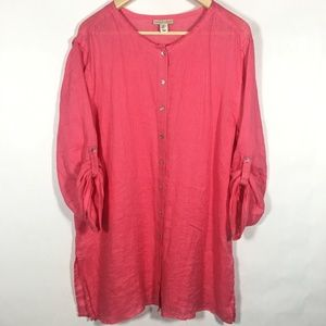 Carole Little Coral Pink 100% Linen Tunic Blouse